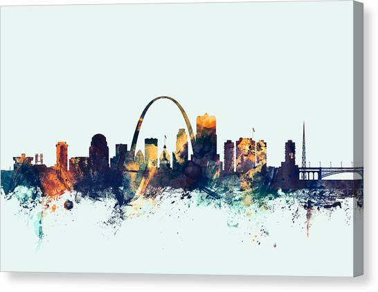 Louis Canvas Print - St Louis Missouri Skyline by Michael Tompsett