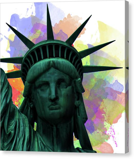 Immigration Canvas Print - Statue Of Liberty by Martin Newman