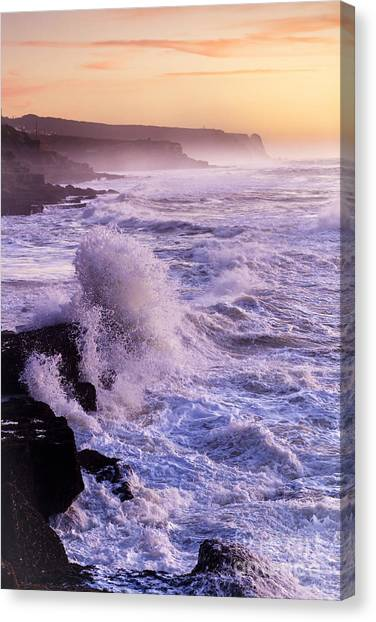 Sunset In The Portuguese Coast Canvas Print by Andre Goncalves