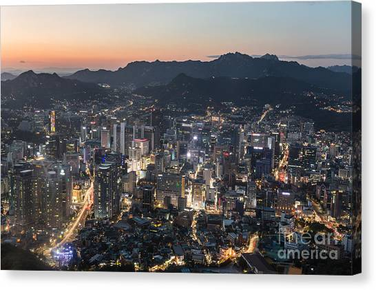 Sunset Over Seoul Canvas Print