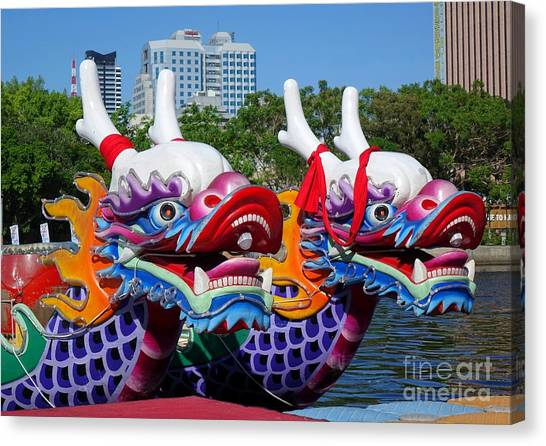 Traditional Dragon Boats In Taiwan Canvas Print
