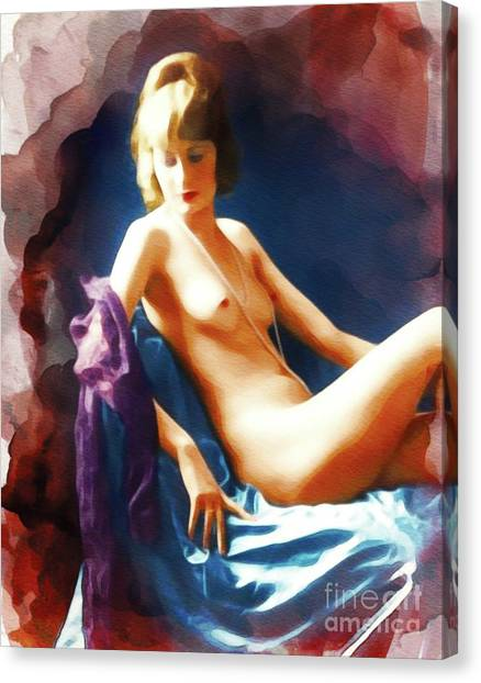 Follies Canvas Print - Vintage Nude Pinup by Frank Falcon