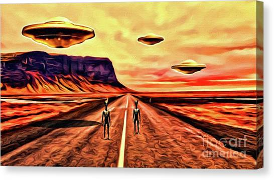 Monster Ufo Canvas Print - We Come In Peace by Raphael Terra