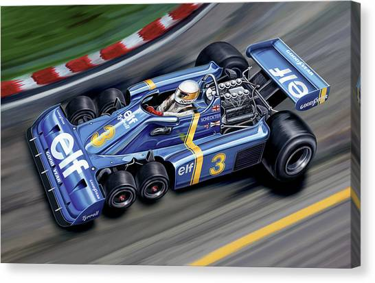 Grand Prix Racing Canvas Print - 6 Wheel Tyrrell P34 F-1 Car by David Kyte