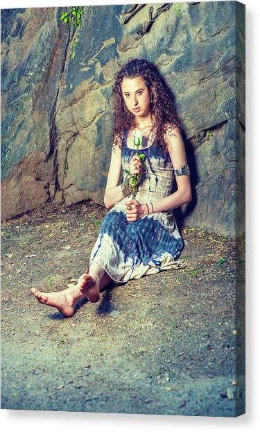 Young American Woman Missing You With White Rose In New York Canvas Print
