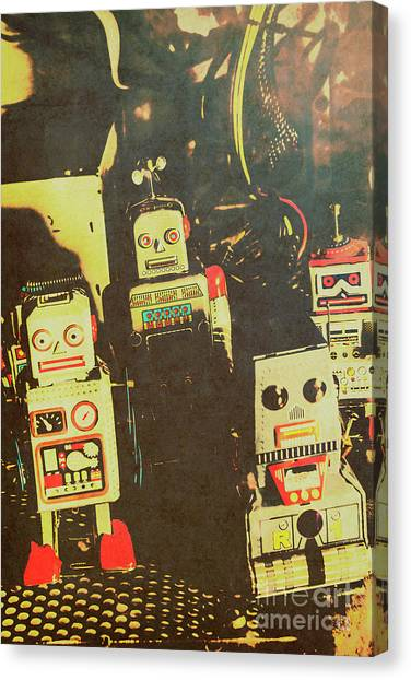 Fifties Canvas Print - 60s Cartoon Character Robots by Jorgo Photography - Wall Art Gallery