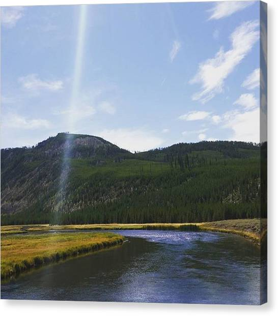 Rocky Mountains Canvas Print - Blue Skies Over Montana River by Jonathan Stoops