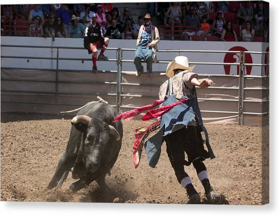 Rodeo Clown Canvas Print - Bull Fights by Jeremiah David