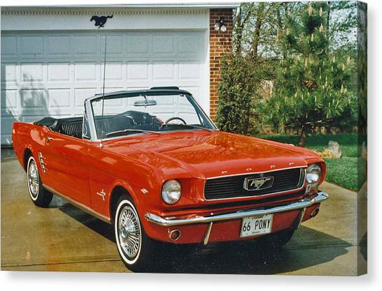 66 Mustang Convertable Canvas Print