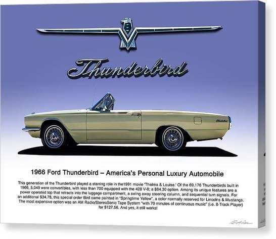 Ford Canvas Print - 66 T-bird Display Piece by Douglas Pittman