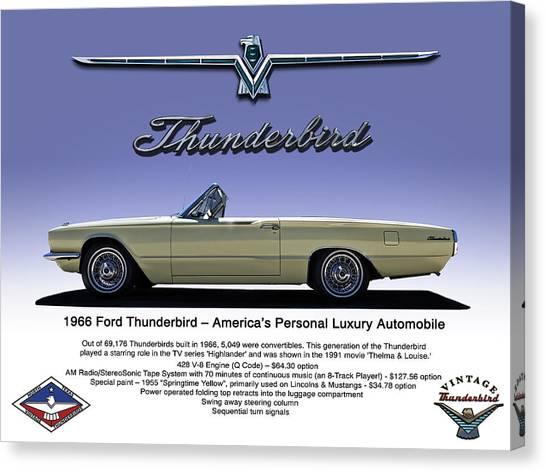 Ford Canvas Print - '66 Thunderbird Convertible by Douglas Pittman