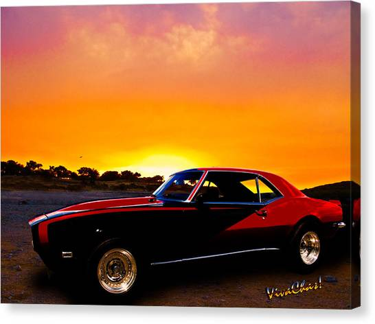 69 Camaro Up At Rocky Ridge For Sunset Canvas Print