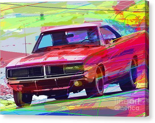 Recommended Canvas Print - 69 Dodge Charger  by David Lloyd Glover