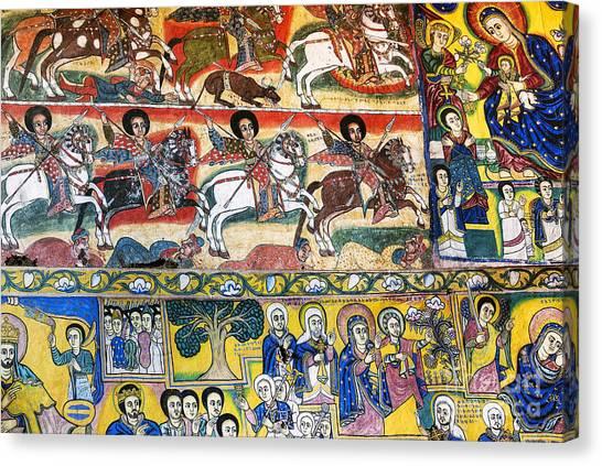 Ancient Orthodox Church Interior Painted Walls In Gondar Ethiopi Canvas Print
