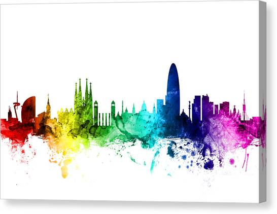 Barcelona Canvas Print - Barcelona Spain Skyline by Michael Tompsett