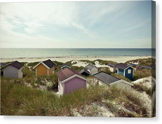 Beach Houses And Dunes Canvas Print