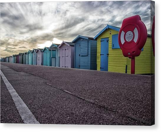 Murky Canvas Print - Beach Huts by Martin Newman