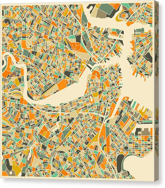 Artist Canvas Print - Boston Map by Jazzberry Blue