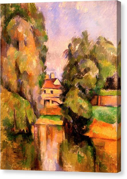 Post-impressionism Canvas Print - Country House By A River  by Paul Cezanne