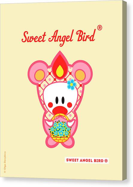 Cute Art - Sweet Angel Bird In A Pink Bear Costume Holding A Basket Of Little Blue Flowers Wall Art Print Canvas Print