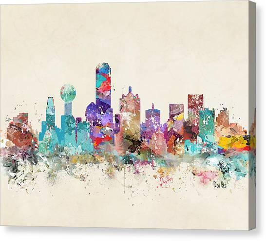 Colourfull Canvas Print - Dallas Texas Skyline by Bleu Bri