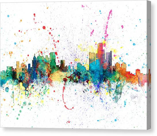 Detroit Canvas Print - Detroit Michigan Skyline by Michael Tompsett