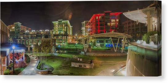 Greenville South Carolina Near Falls Park River Walk At Nigth. Canvas Print