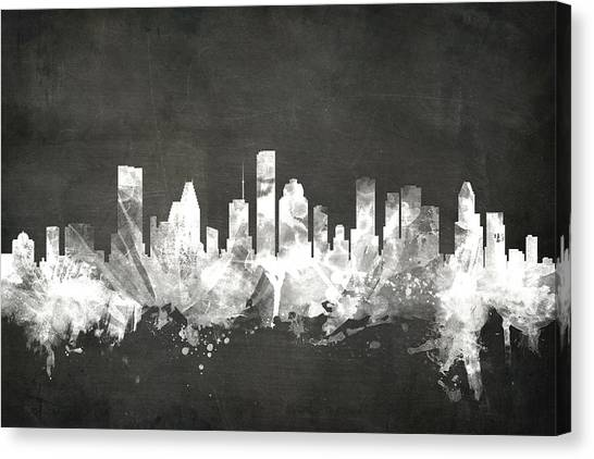 Houston Skyline Canvas Print - Houston Texas Skyline by Michael Tompsett