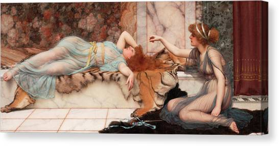 Pre-raphaelite Art Canvas Print - Mischief And Repose by John William Godward