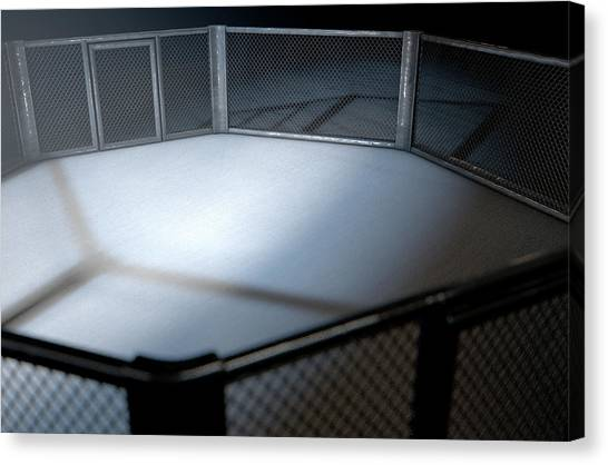 Mma Canvas Print - Mma Cage Night by Allan Swart
