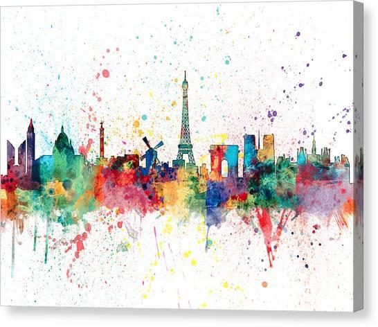 Paris Skyline Canvas Print - Paris France Skyline by Michael Tompsett