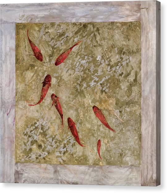 Koi Canvas Print - 7 Pesci Rossi E Oro by Guido Borelli