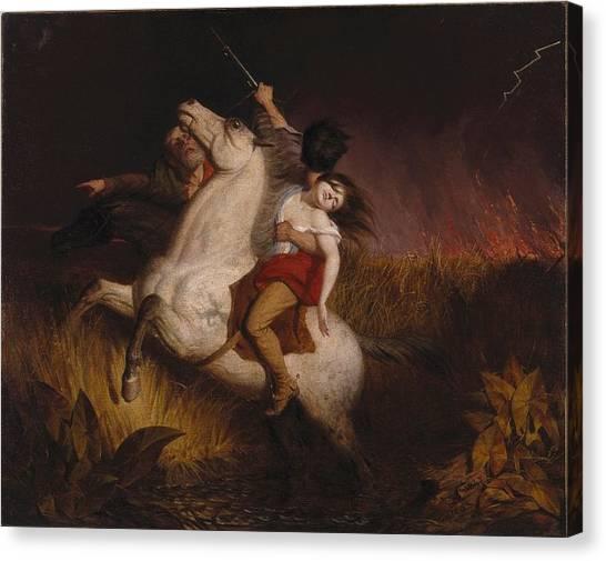 Dea Canvas Print - Prairie On Fire by Charles Deas