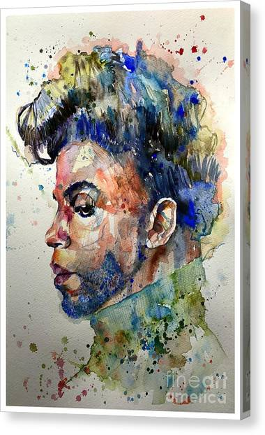 Navy Blue Canvas Print - Prince Rogers Nelson Portrait by Suzann's Art