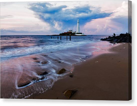 Saint Mary's Lighthouse At Whitley Bay Canvas Print