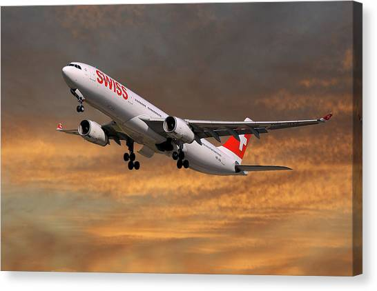Jet Canvas Print - Swiss Airbus A330-343 by Smart Aviation
