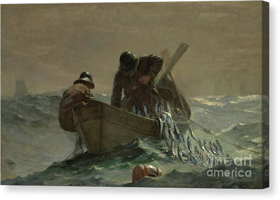 Winslow Canvas Print - The Herring Net by Winslow Homer