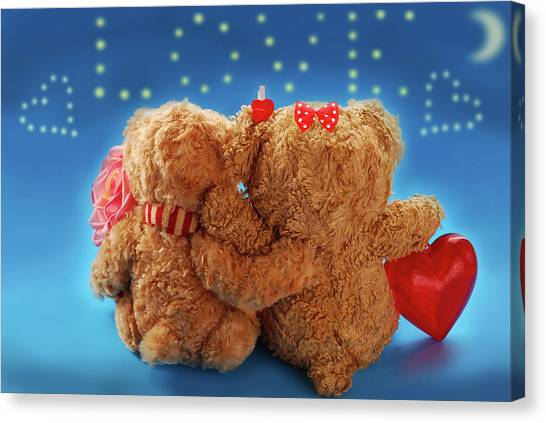 Teddy Bears Canvas Print - Valentine's Day by Maye Loeser