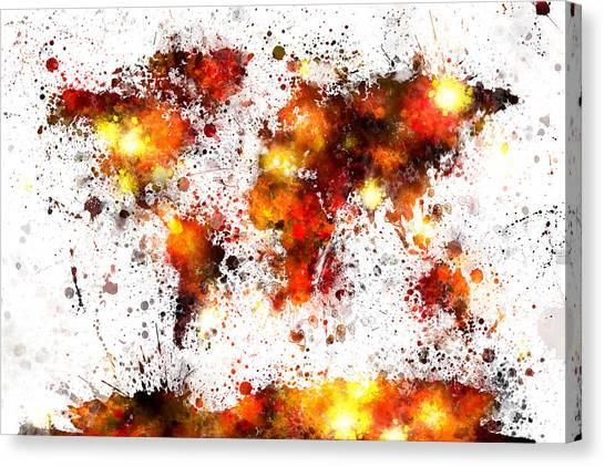 Colourfull Canvas Print - World Map Paint Splashes by Michael Tompsett