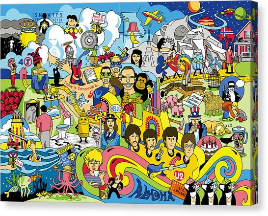 Rock Music Canvas Print - 70 Illustrated Beatles' Song Titles by Ron Magnes