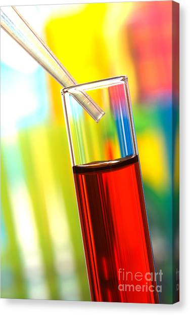 Test Tubes Canvas Print - Laboratory Experiment In Science Research Lab by Olivier Le Queinec