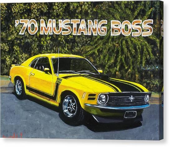 70 Mustang Boss Canvas Print by Charles Vaughn