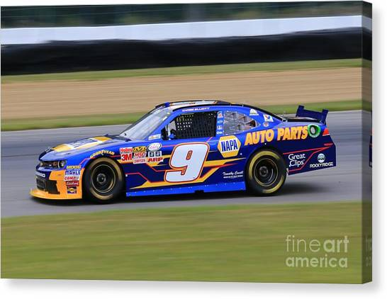 Joe Gibbs Canvas Print - Chase Elliott Nascar Racing by Douglas Sacha