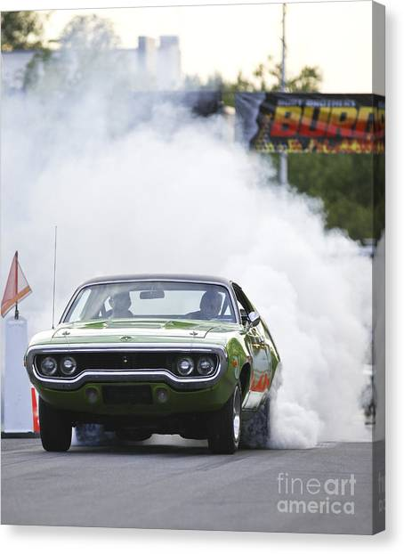 '72 Roadrunner Burn Out Canvas Print