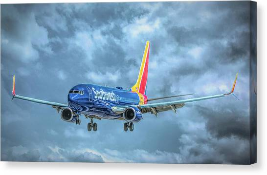 Canvas Print featuring the photograph 737 by Guy Whiteley