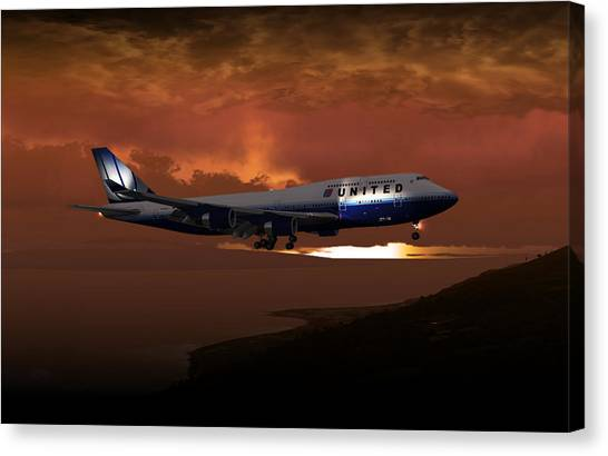 747-400 02 Approach Phog Canvas Print