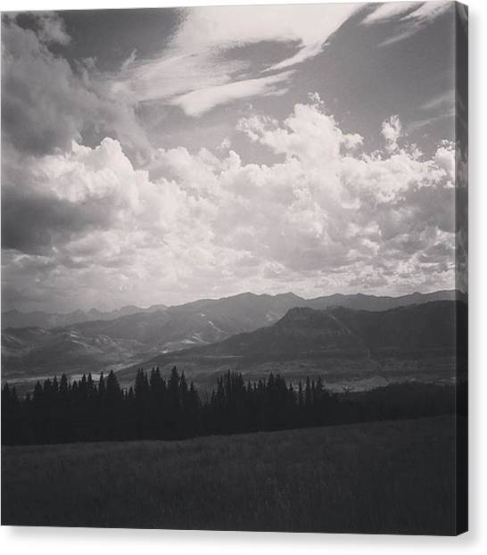 Yellowstone National Park Canvas Print - Mountainous Landscape In Black And White by Jonathan Stoops