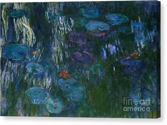 Murky Canvas Print - Water Lilies by Claude Monet