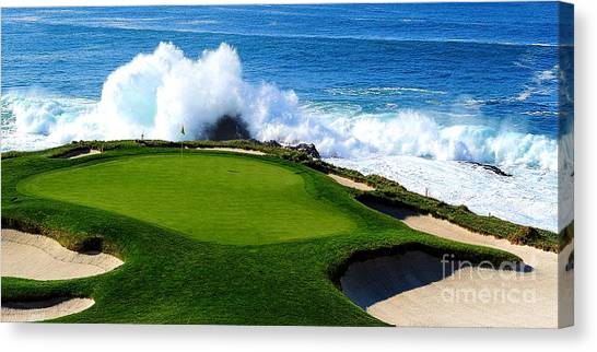 Golf Course Canvas Print - 7th Hole - Pebble Beach  by Michael Graham