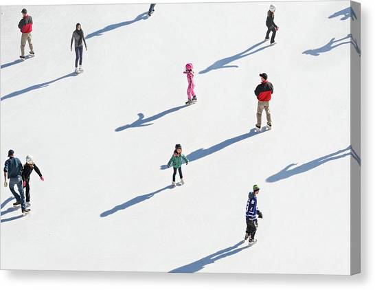 Aerial View Of Ice Skating Canvas Print